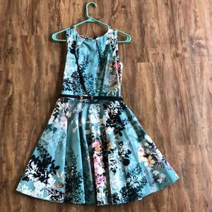 Belted fit and flair dress